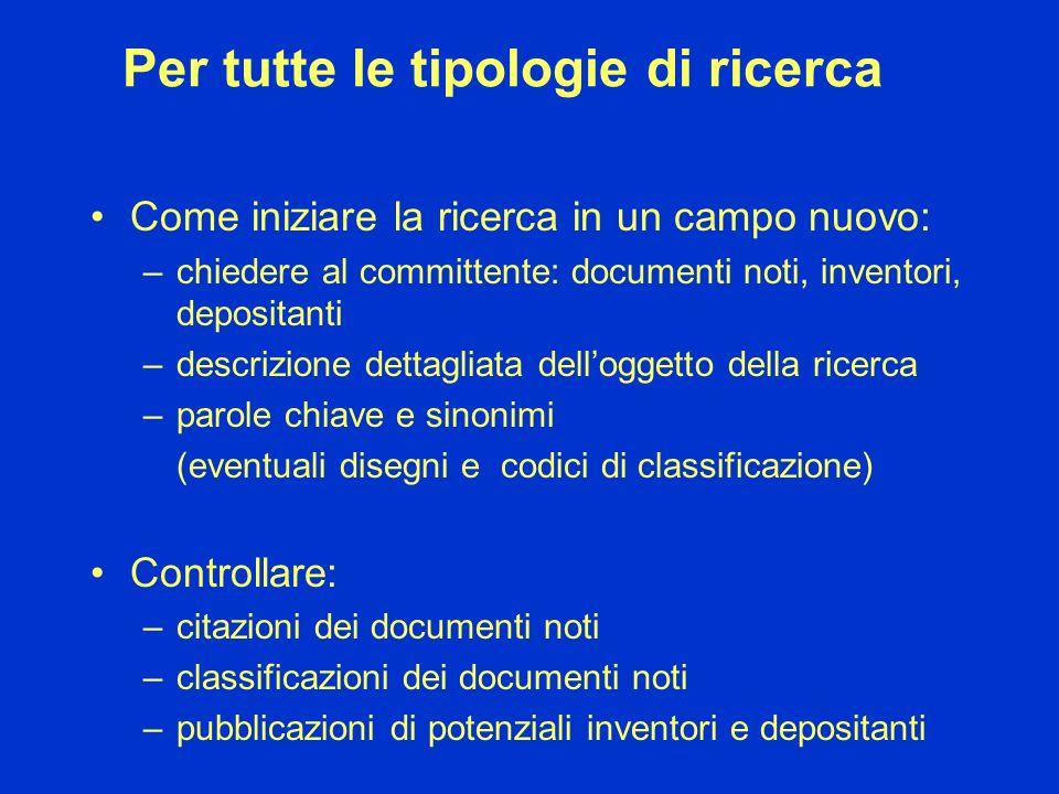 Per tutte le tipologie di ricerca Come iniziare la ricerca in un campo nuovo: –chiedere al committente: documenti noti, inventori, depositanti –descri