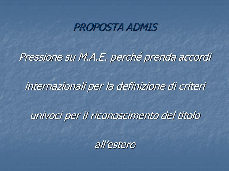 PROPOSTA ADMIS Pressione su M.A.E.