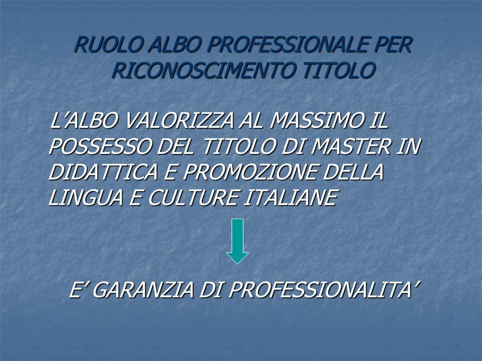 RUOLO ALBO PROFESSIONALE PER RICONOSCIMENTO TITOLO LALBO VALORIZZA AL MASSIMO IL POSSESSO DEL TITOLO DI MASTER IN DIDATTICA E PROMOZIONE DELLA LINGUA E CULTURE ITALIANE LALBO VALORIZZA AL MASSIMO IL POSSESSO DEL TITOLO DI MASTER IN DIDATTICA E PROMOZIONE DELLA LINGUA E CULTURE ITALIANE E GARANZIA DI PROFESSIONALITA