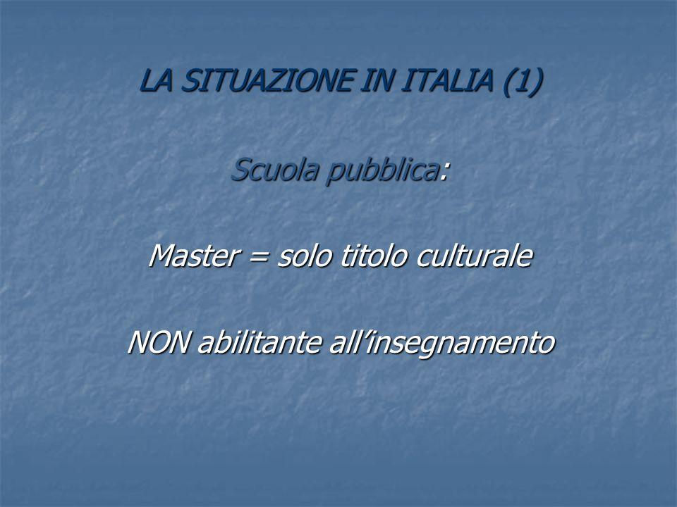 LA SITUAZIONE IN ITALIA (1) Scuola pubblica: Master = solo titolo culturale NON abilitante allinsegnamento