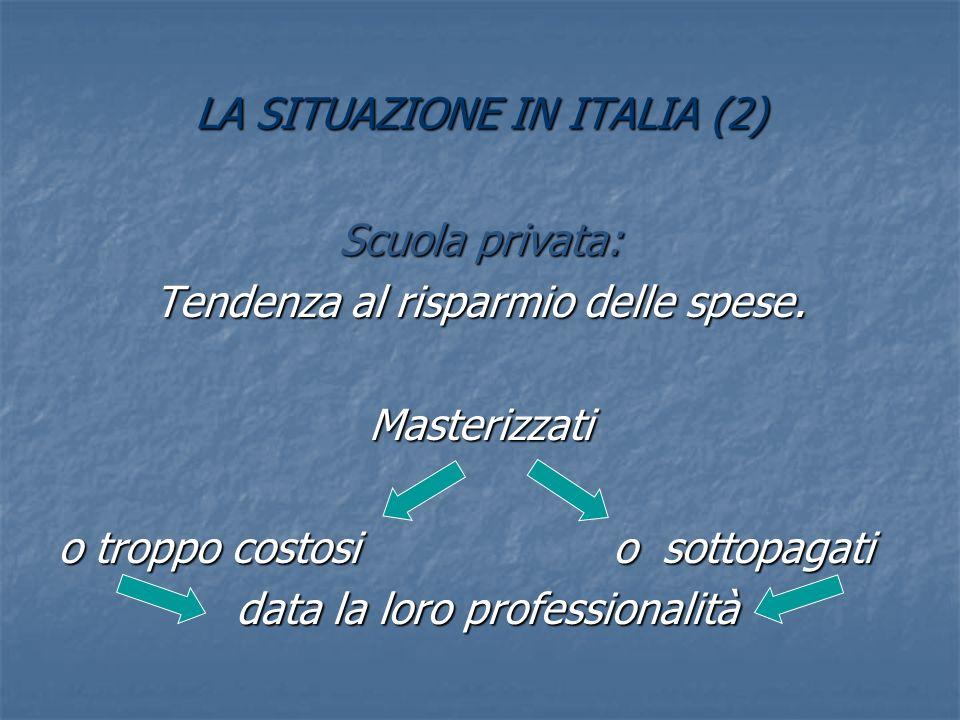 LA SITUAZIONE IN ITALIA (2) Scuola privata: Tendenza al risparmio delle spese.