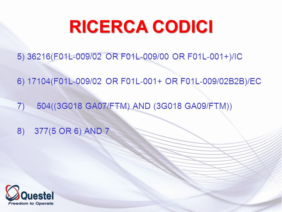 RICERCA CODICI 5) 36216(F01L-009/02 OR F01L-009/00 OR F01L-001+)/IC 6) 17104(F01L-009/02 OR F01L-001+ OR F01L-009/02B2B)/EC 7) 504((3G018 GA07/FTM) AN