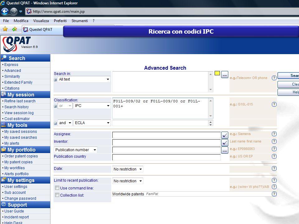 Ricerca con codici IPC