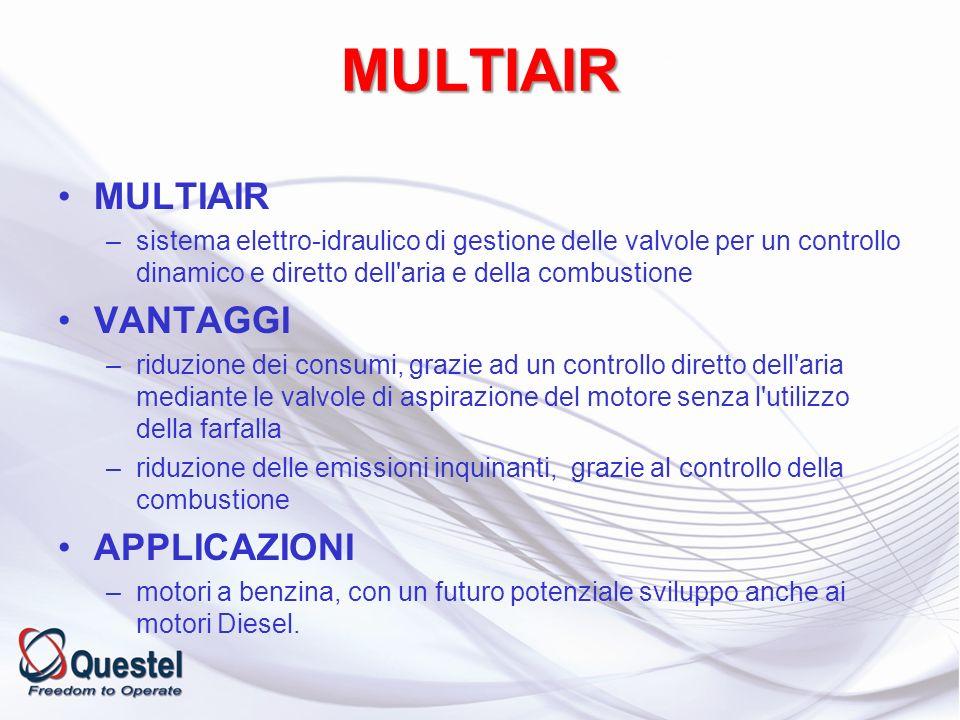 MULTIAIR –sistema elettro-idraulico di gestione delle valvole per un controllo dinamico e diretto dell'aria e della combustione VANTAGGI –riduzione de