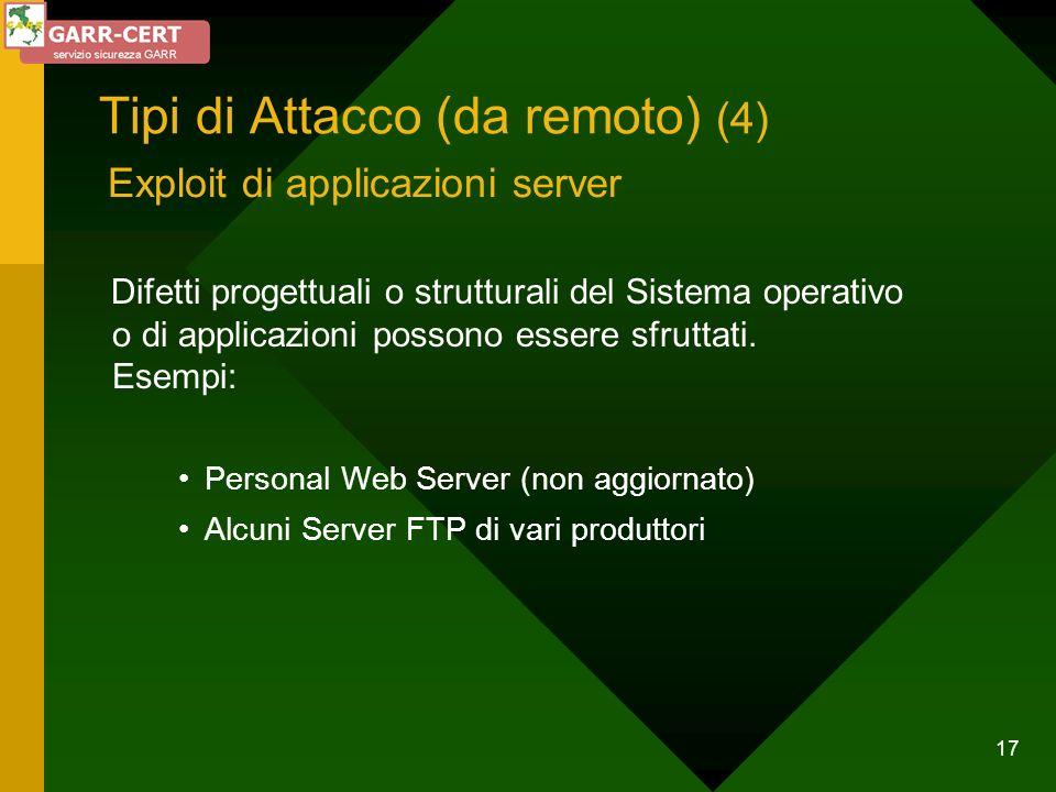 17 Tipi di Attacco (da remoto) (4) Difetti progettuali o strutturali del Sistema operativo o di applicazioni possono essere sfruttati. Esempi: Persona