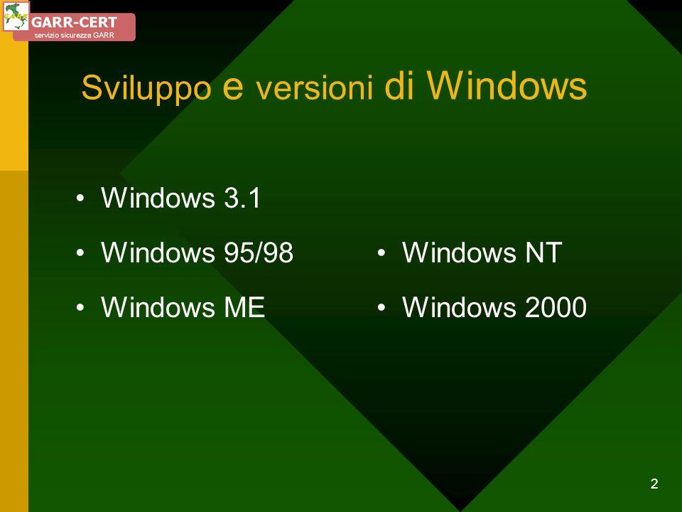 13 Sicurezza in Windows 95/98 Semplicità contro Sicurezza Monoutente Multitask cooperative Controllo di accesso: a livello utente a livello di condivisione