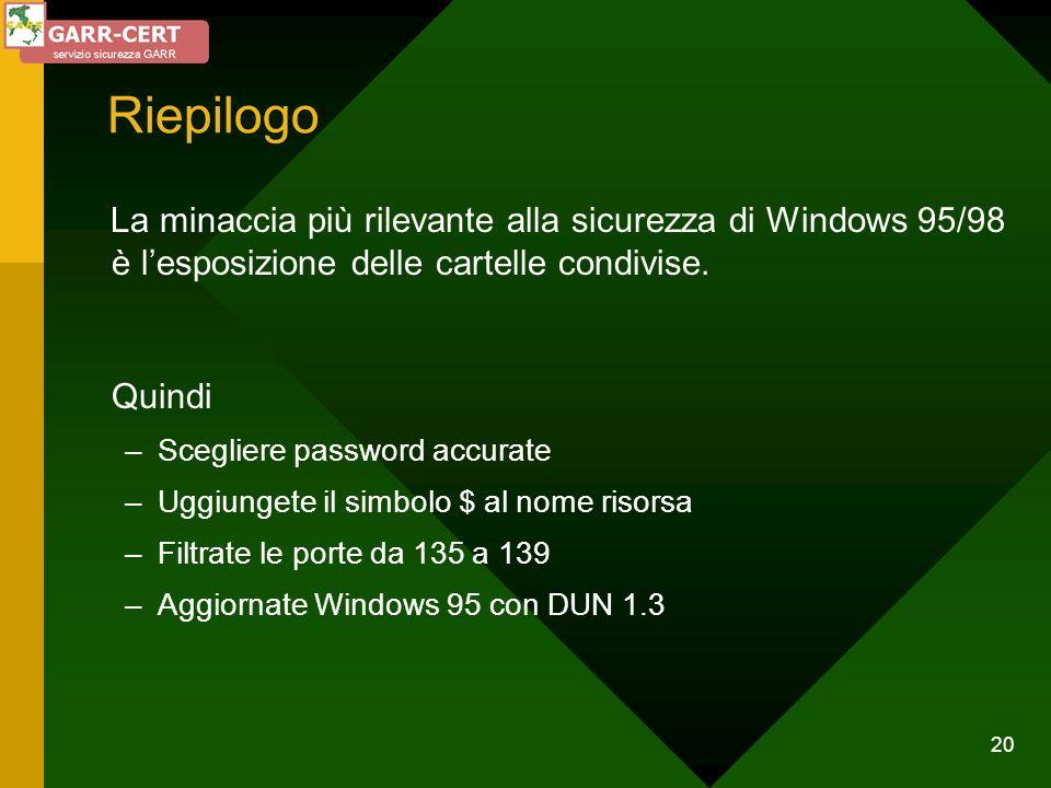 20 Riepilogo La minaccia più rilevante alla sicurezza di Windows 95/98 è lesposizione delle cartelle condivise. Quindi –Scegliere password accurate –U
