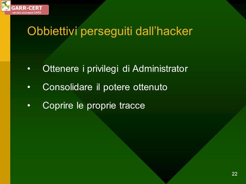 22 Obbiettivi perseguiti dallhacker Ottenere i privilegi di Administrator Consolidare il potere ottenuto Coprire le proprie tracce