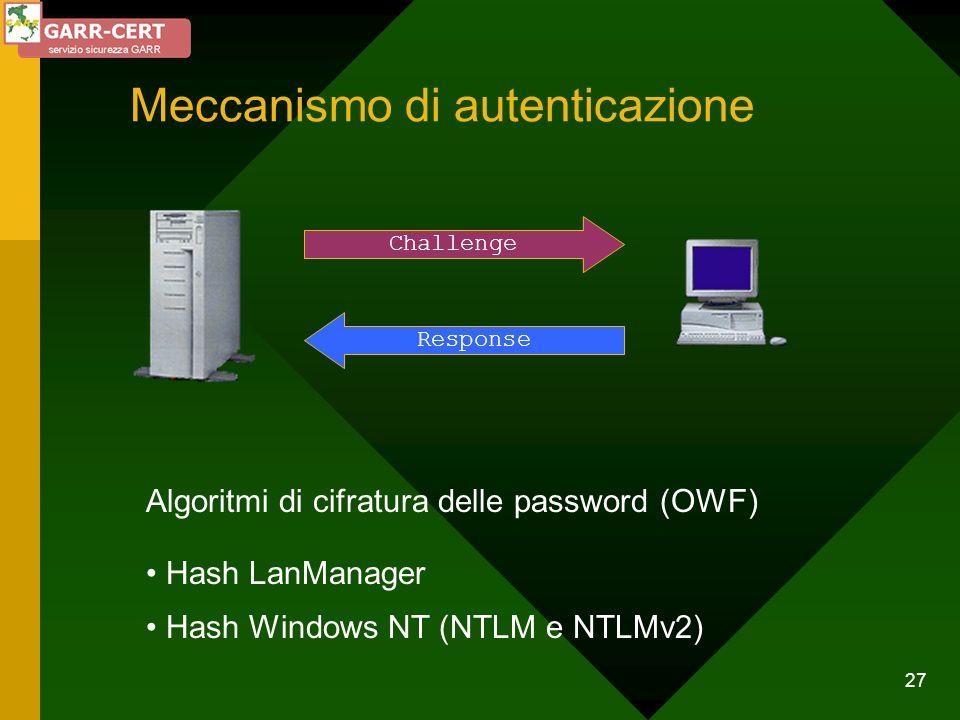 27 Meccanismo di autenticazione Challenge Response Algoritmi di cifratura delle password (OWF) Hash LanManager Hash Windows NT (NTLM e NTLMv2)