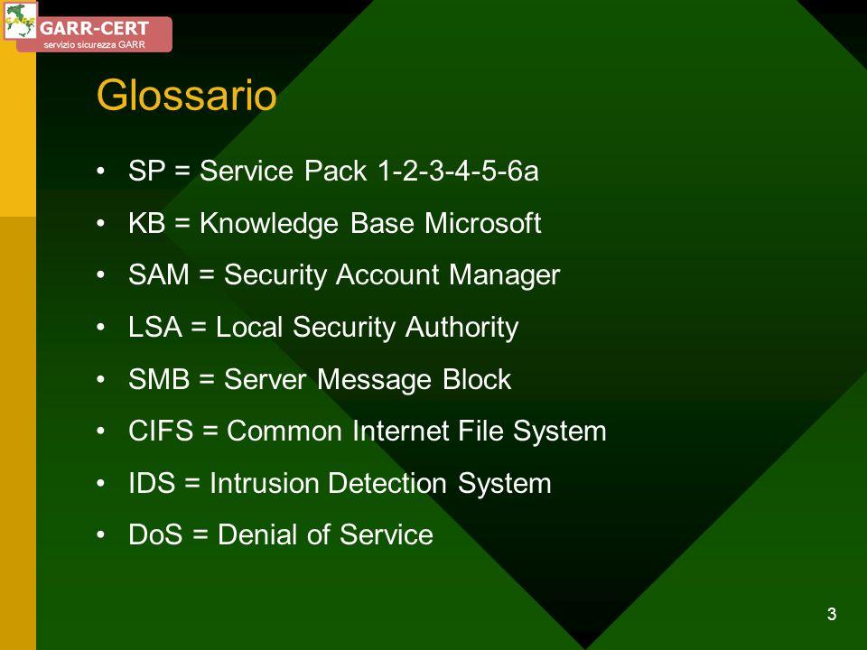 24 Difendersi da i tentativi di ricerca delle password (1) Installare passfilt (SP2 - Q161990) Installare passprop (Resource Kit) Filtrare le porte da UDP e TCP da 135 a 137 Applicare una policy di gestione account Limitare gli orari di connessione