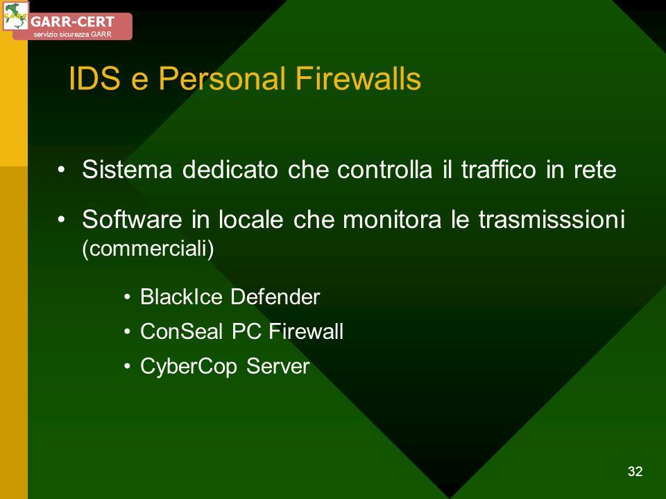 32 IDS e Personal Firewalls Sistema dedicato che controlla il traffico in rete Software in locale che monitora le trasmisssioni (commerciali) BlackIce