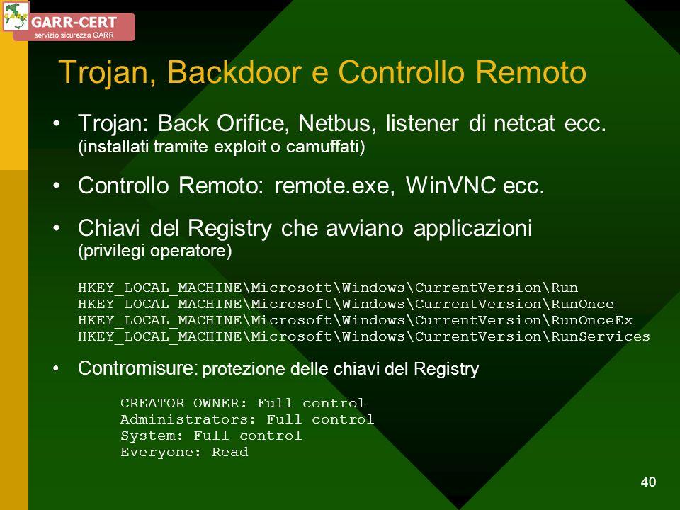 40 Trojan, Backdoor e Controllo Remoto Trojan: Back Orifice, Netbus, listener di netcat ecc. (installati tramite exploit o camuffati) Controllo Remoto