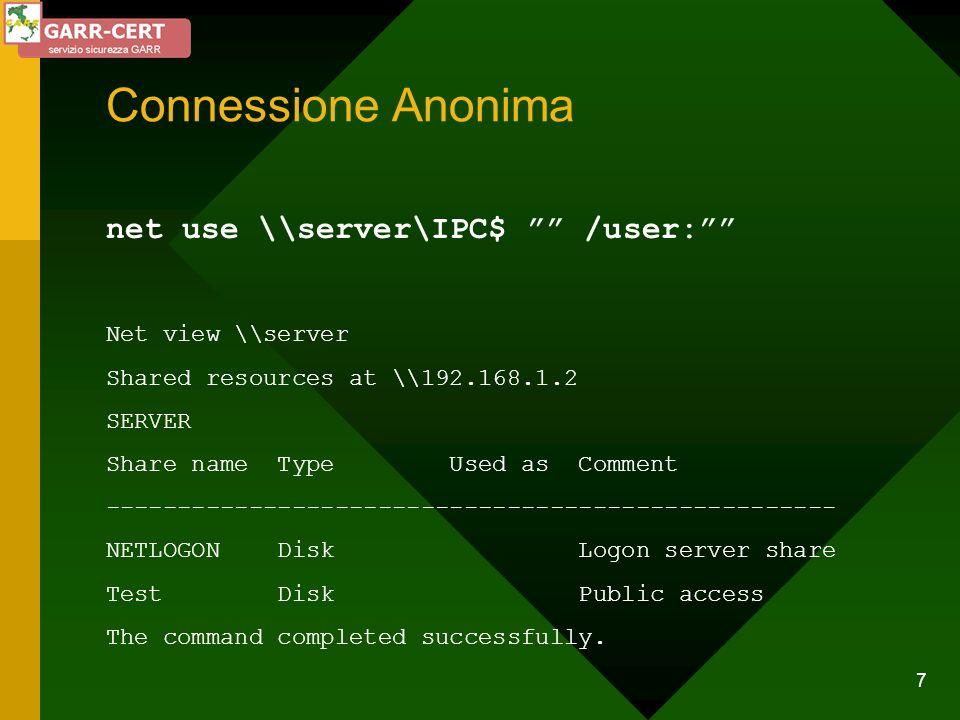 28 Evitare lintercettazione del traffico di autenticazione (L0phtcrack) Luso di router e switch limita lo sniffing Disabilitare lalgoritmo di hash LanManager (SP4 - Q147706 - solo per NT) Abilitare la firma SMB (SP3 - Q161372 - solo per NT)