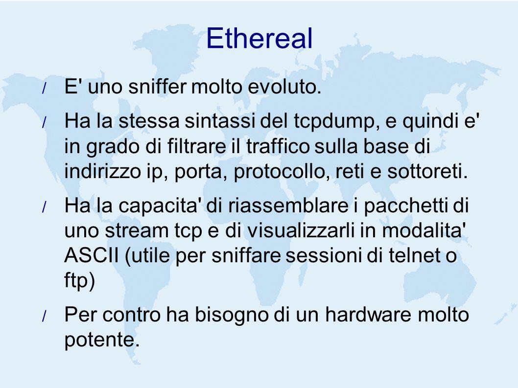 Ethereal E uno sniffer molto evoluto.