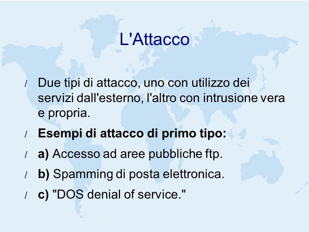 L Attacco Due tipi di attacco, uno con utilizzo dei servizi dall esterno, l altro con intrusione vera e propria.