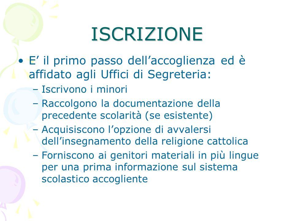 ISCRIZIONE E il primo passo dellaccoglienza ed è affidato agli Uffici di Segreteria: –Iscrivono i minori –Raccolgono la documentazione della precedent