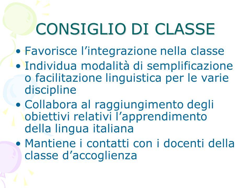 CONSIGLIO DI CLASSE Favorisce lintegrazione nella classe Individua modalità di semplificazione o facilitazione linguistica per le varie discipline Col