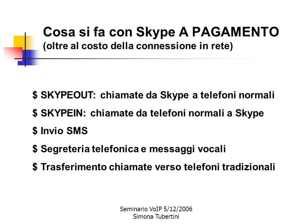 Seminario VoIP 5/12/2006 Simona Tubertini * Telefonate da Skype a Skype * Videochiamate su Skype * Chat * Teleconferenze (fino a 5 persone) * Trasferi