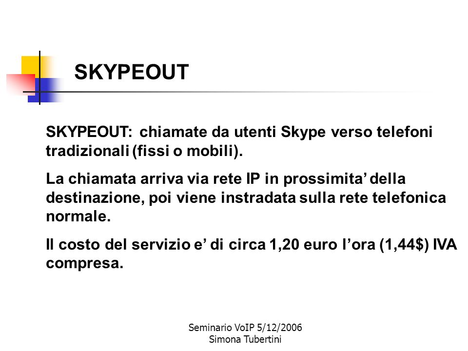 Seminario VoIP 5/12/2006 Simona Tubertini $ SKYPEOUT: chiamate da Skype a telefoni normali $ SKYPEIN: chiamate da telefoni normali a Skype $ Invio SMS