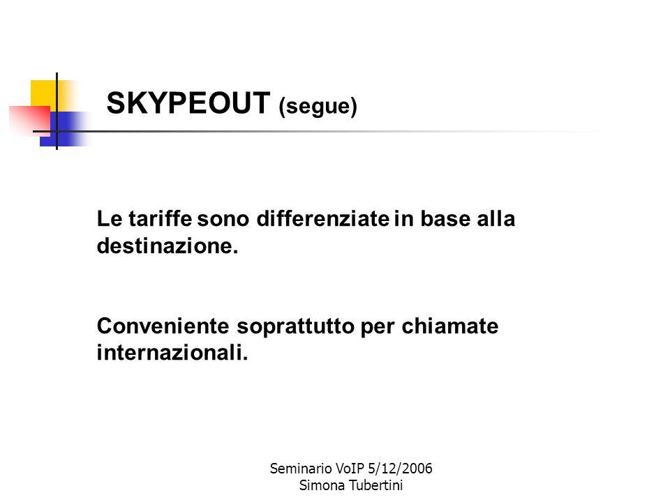 Seminario VoIP 5/12/2006 Simona Tubertini SKYPEOUT: chiamate da utenti Skype verso telefoni tradizionali (fissi o mobili). La chiamata arriva via rete