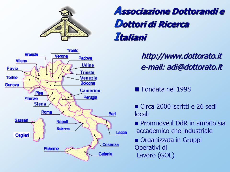 http://www.dottorato.it e-mail: adi@dottorato.it Fondata nel 1998 Circa 2000 iscritti e 26 sedi locali Promuove il DdR in ambito sia accademico che industriale Organizzata in Gruppi Operativi di Lavoro (GOL) A ssociazione Dottorandi e D ottori di Ricerca I taliani