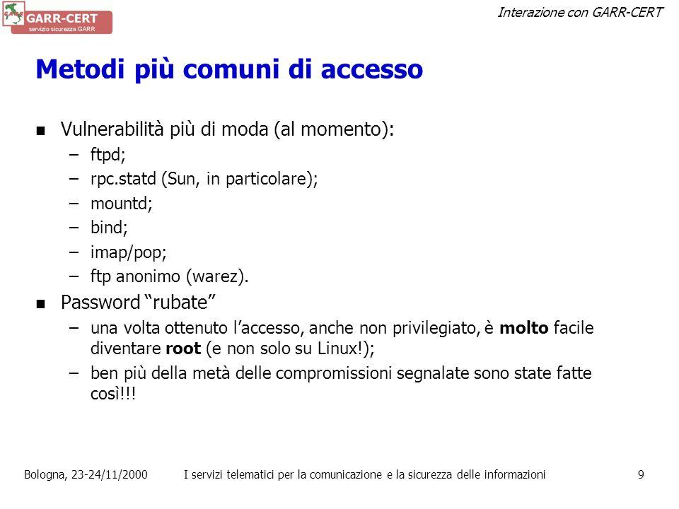 Interazione con GARR-CERT Bologna, 23-24/11/2000I servizi telematici per la comunicazione e la sicurezza delle informazioni8 Vulnerabilità scoperte (2