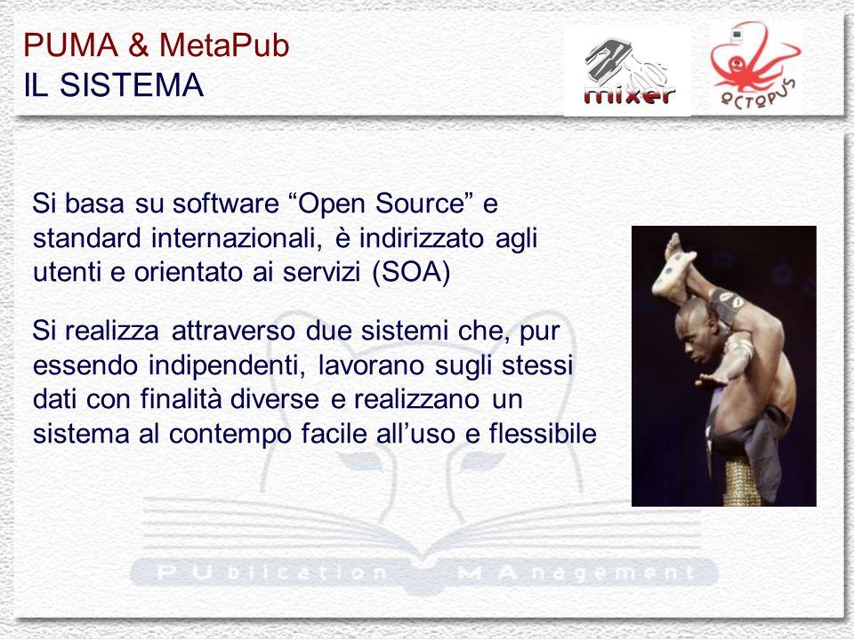 PUMA & MetaPub IL SISTEMA Si basa su software Open Source e standard internazionali, è indirizzato agli utenti e orientato ai servizi (SOA) Si realizz