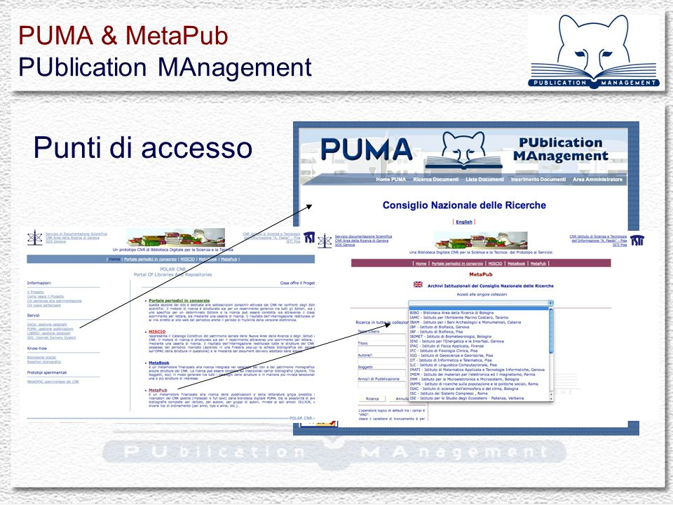 Punti di accesso PUMA & MetaPub PUblication MAnagement