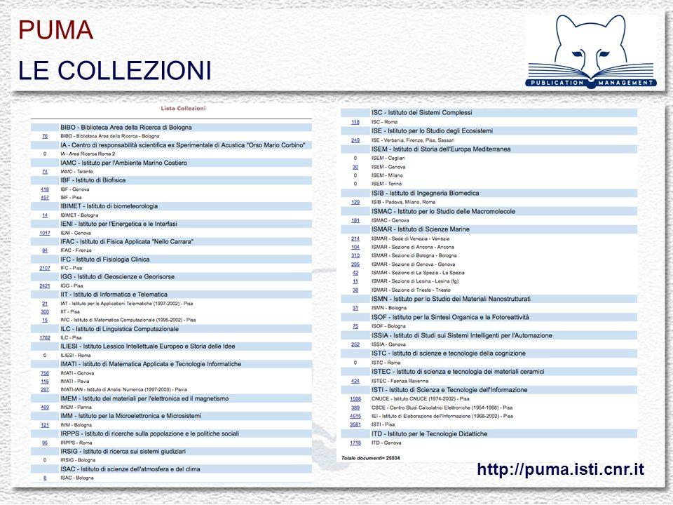 PUMA LE COLLEZIONI http://puma.isti.cnr.it