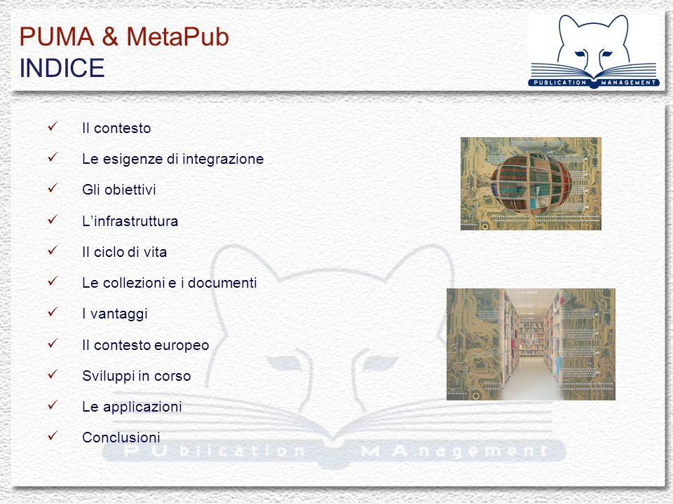 PUMA & MetaPub IL CONTESTO - 1997-2009 Networked Multimedia Information Systems Laboratory Cooperazione e coordinamento Ercim* & DELOS WG on Digital Library, Delos-Network of Excellence on DL… Progetti ricerca e sviluppo: CNR, ERCIM, EU ETRDL, Scholnet->OpenDLib, Cyclades, Echo, BRICKS, DILIGENT, DRIVER, Belief I-II, Open AIRE..