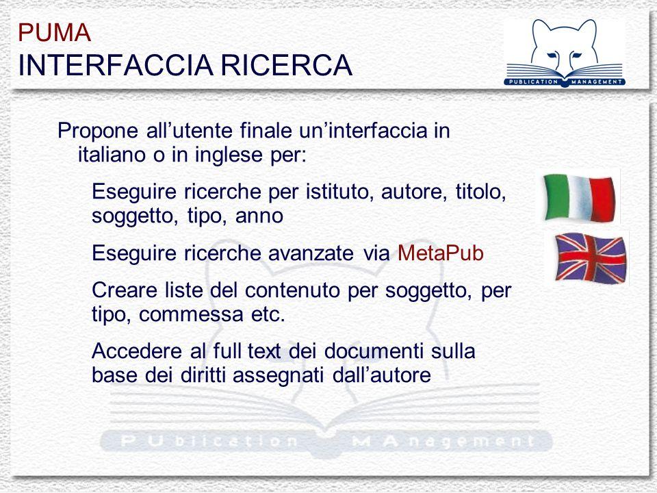Propone allutente finale uninterfaccia in italiano o in inglese per: Eseguire ricerche per istituto, autore, titolo, soggetto, tipo, anno Eseguire ric