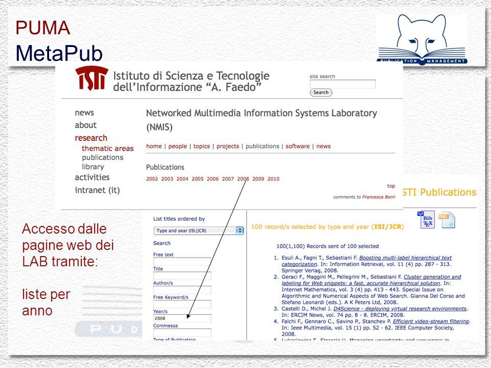 Accesso dalle pagine web dei LAB tramite: liste per anno PUMA MetaPub