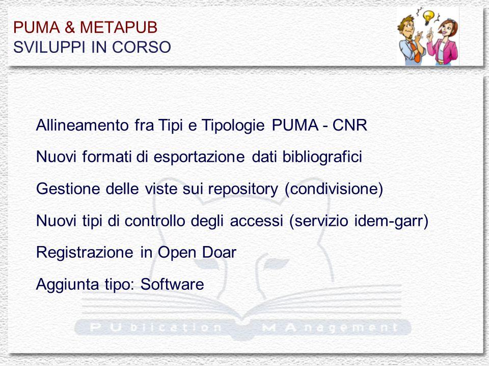 PUMA & METAPUB SVILUPPI IN CORSO Allineamento fra Tipi e Tipologie PUMA - CNR Nuovi formati di esportazione dati bibliografici Gestione delle viste sui repository (condivisione) Nuovi tipi di controllo degli accessi (servizio idem-garr) Registrazione in Open Doar Aggiunta tipo: Software