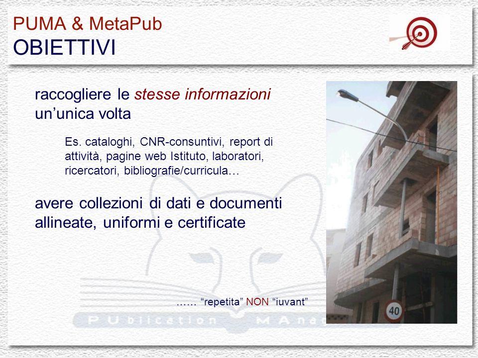PUMA & MetaPub OBIETTIVI raccogliere le stesse informazioni ununica volta Es. cataloghi, CNR-consuntivi, report di attività, pagine web Istituto, labo