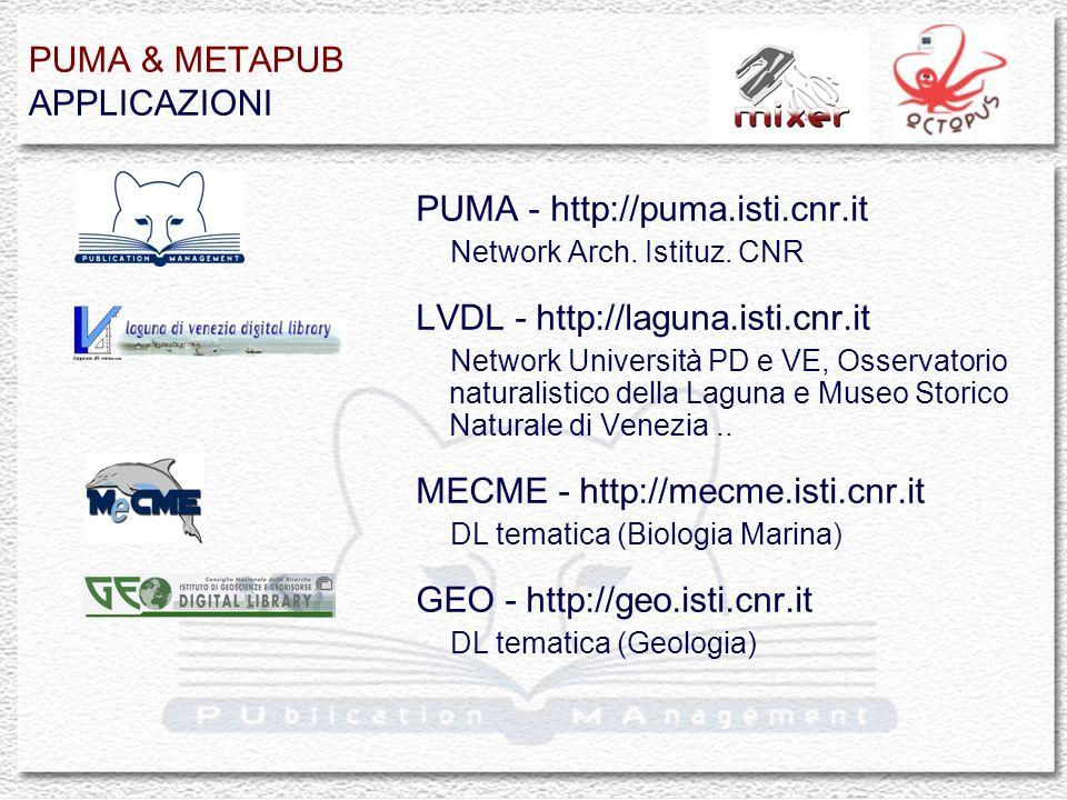 PUMA & METAPUB APPLICAZIONI PUMA - http://puma.isti.cnr.it Network Arch.