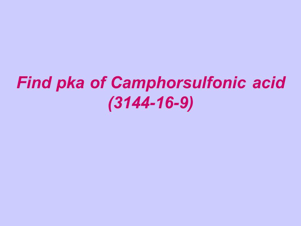 Find pka of Camphorsulfonic acid (3144-16-9)