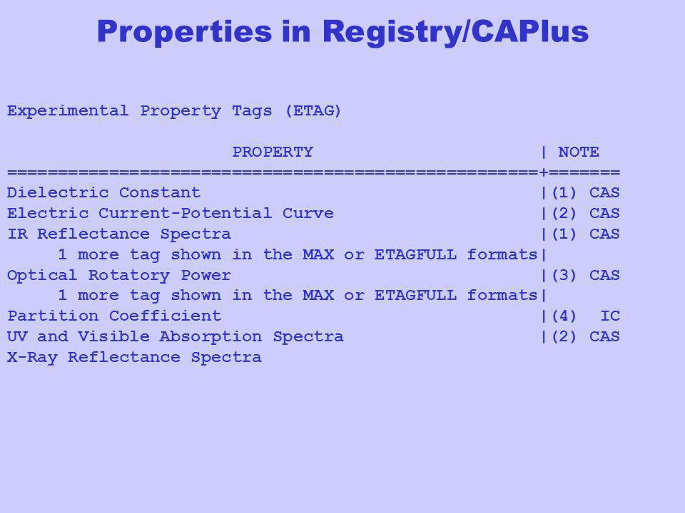 Properties in Registry/CAPlus Experimental Property Tags (ETAG) PROPERTY | NOTE ====================================================+======= Dielectri