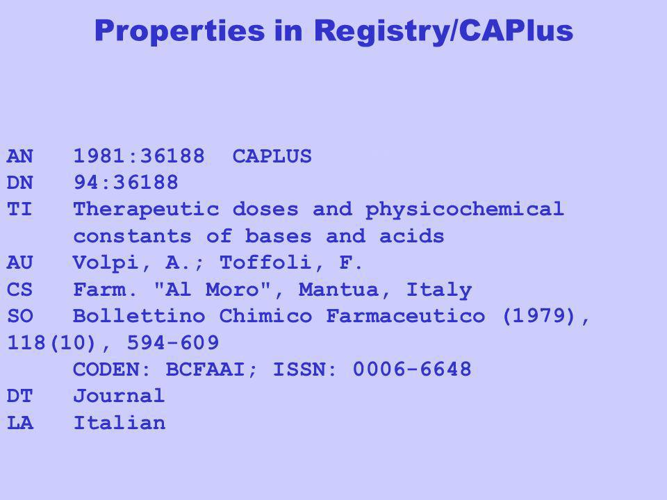 AN 1981:36188 CAPLUS Full-textFull-text DN 94:36188 TI Therapeutic doses and physicochemical constants of bases and acids AU Volpi, A.; Toffoli, F. CS