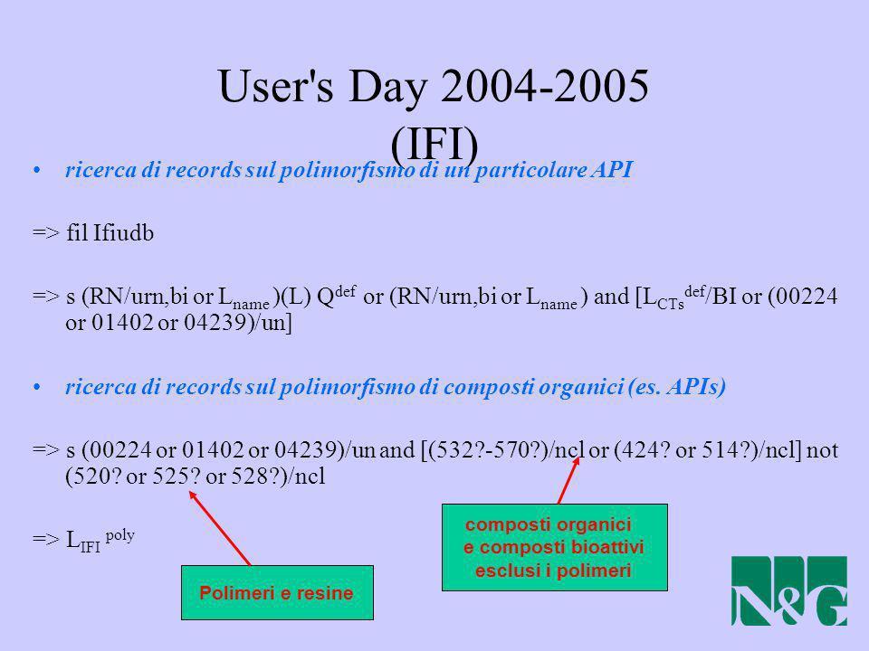 User's Day 2004-2005 (IFI) ricerca di records sul polimorfismo di un particolare API => fil Ifiudb => s (RN/urn,bi or L name )(L) Q def or (RN/urn,bi