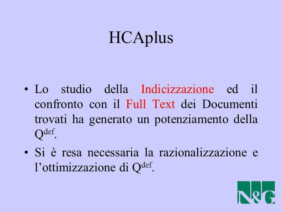HCAplus Lo studio della Indicizzazione ed il confronto con il Full Text dei Documenti trovati ha generato un potenziamento della Q def. Si è resa nece