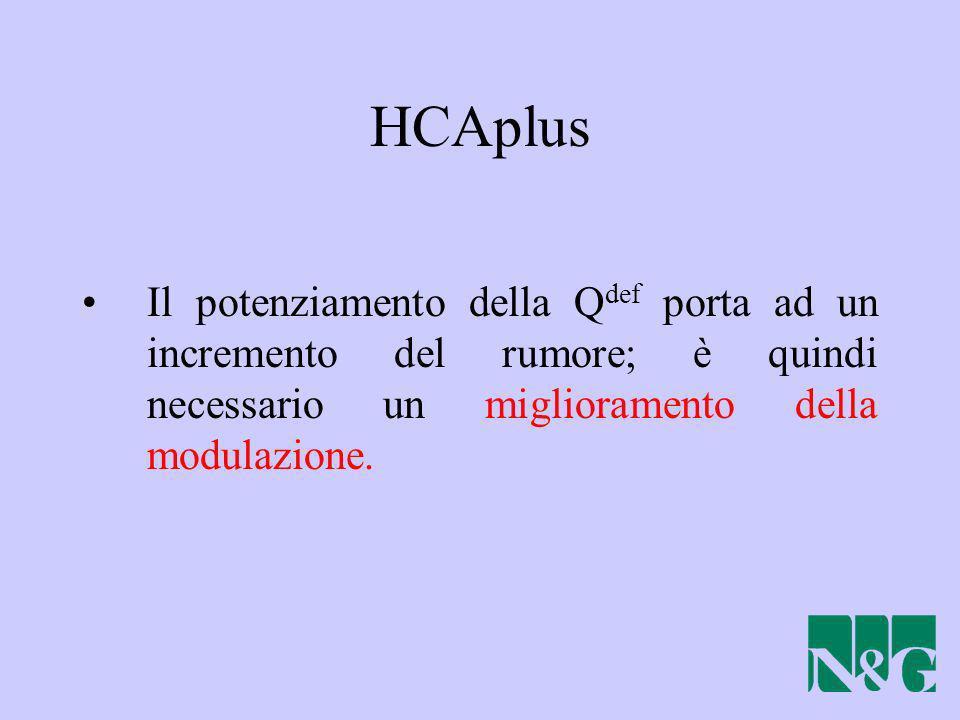 HCAplus Il potenziamento della Q def porta ad un incremento del rumore; è quindi necessario un miglioramento della modulazione.