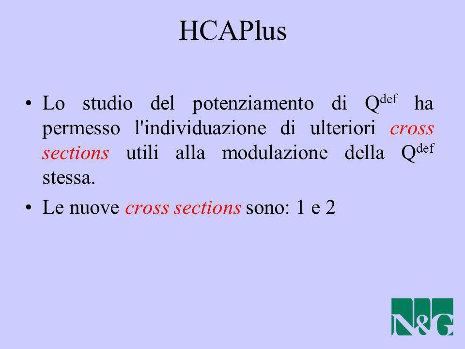 HCAPlus Lo studio del potenziamento di Q def ha permesso l'individuazione di ulteriori cross sections utili alla modulazione della Q def stessa. Le nu