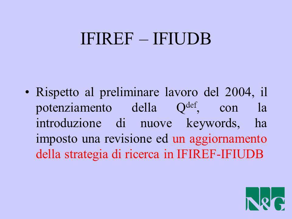 IFIREF – IFIUDB Rispetto al preliminare lavoro del 2004, il potenziamento della Q def, con la introduzione di nuove keywords, ha imposto una revisione