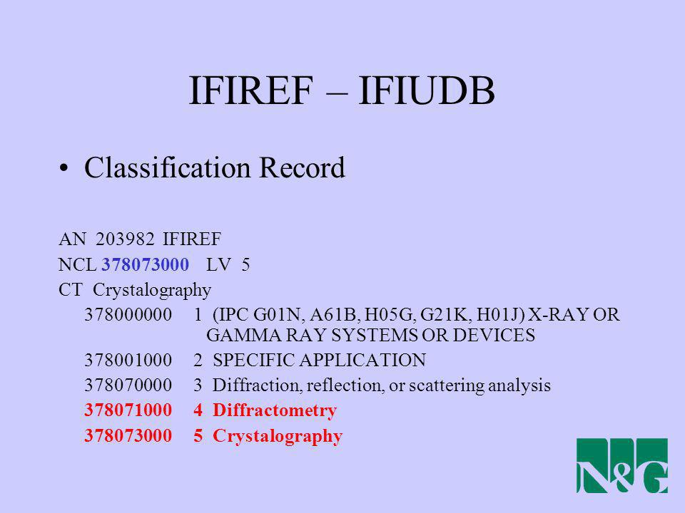 IFIREF – IFIUDB Classification Record AN 203982 IFIREF NCL 378073000 LV 5 CT Crystalography 378000000 1 (IPC G01N, A61B, H05G, G21K, H01J) X-RAY OR GA
