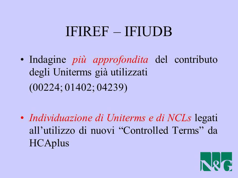 IFIREF – IFIUDB Indagine più approfondita del contributo degli Uniterms già utilizzati (00224; 01402; 04239) Individuazione di Uniterms e di NCLs lega