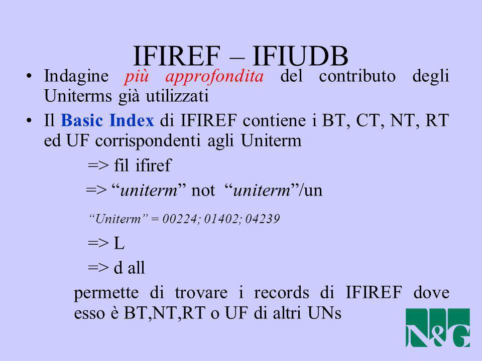 IFIREF – IFIUDB Indagine più approfondita del contributo degli Uniterms già utilizzati Il Basic Index di IFIREF contiene i BT, CT, NT, RT ed UF corris