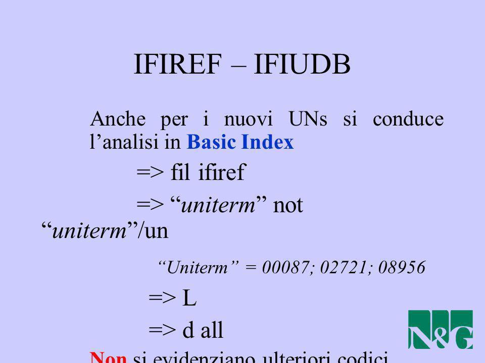 IFIREF – IFIUDB Anche per i nuovi UNs si conduce lanalisi in Basic Index => fil ifiref => uniterm notuniterm/un Uniterm = 00087; 02721; 08956 => L =>