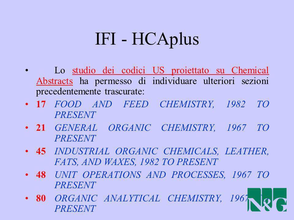 IFI - HCAplus Lo studio dei codici US proiettato su Chemical Abstracts ha permesso di individuare ulteriori sezioni precedentemente trascurate: 17 FOO