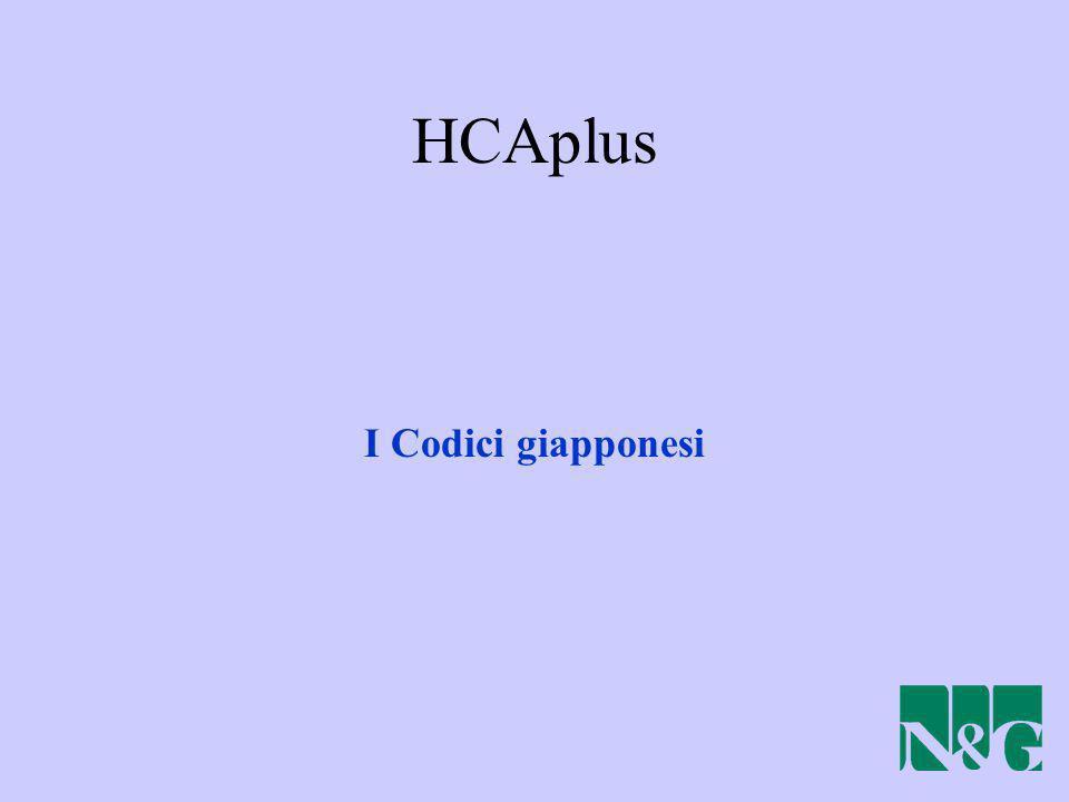 HCAplus I Codici giapponesi