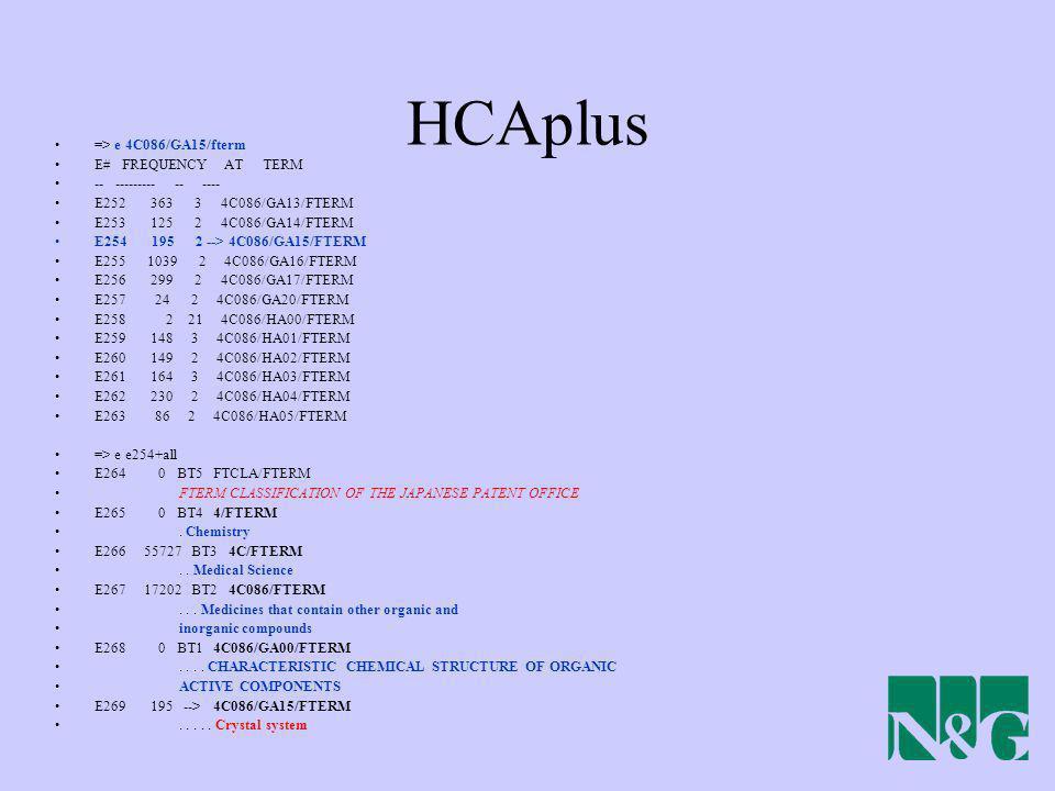 HCAplus => e 4C086/GA15/fterm E# FREQUENCY AT TERM -- --------- -- ---- E252 363 3 4C086/GA13/FTERM E253 125 2 4C086/GA14/FTERM E254 195 2 --> 4C086/G